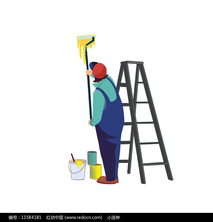 家装节刷墙工人图片