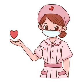 卡通护士手持爱心