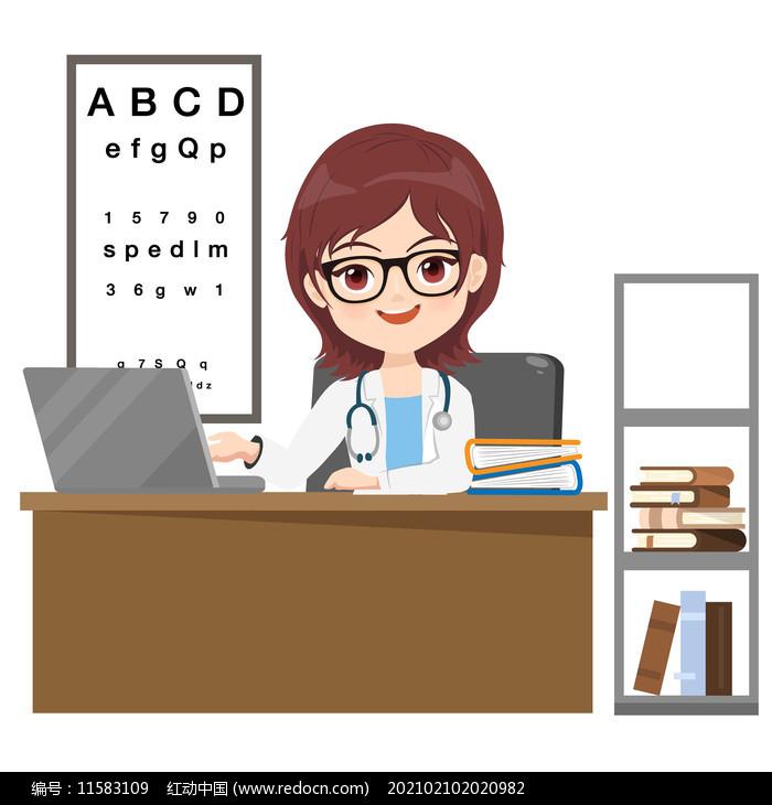 卡通医生形象插画素材图片