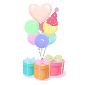 生日气球和礼盒