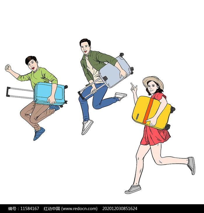 手绘风开学学生人物图片