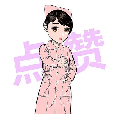 手绘卡通风点赞的女护士