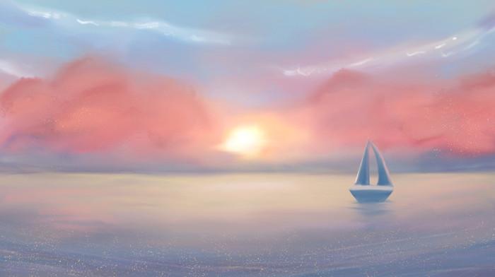唯美海洋帆船夕阳