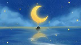 唯美海洋月亮夜景
