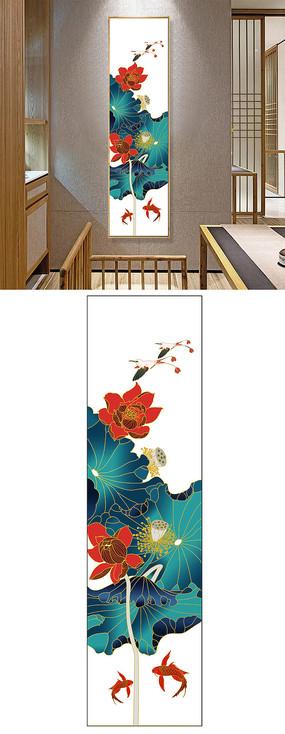 白底荷花酒店客廳玄關中國風藝術掛畫裝飾畫