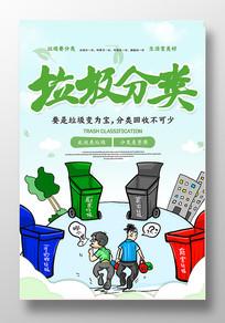 简约垃圾分类标语海报