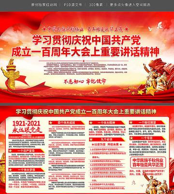庆祝中国共产党成立一百周年大会讲话展板