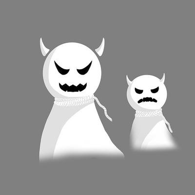 手绘卡通幽灵元素