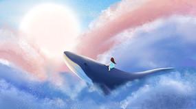 唯美天空鲸鱼女孩