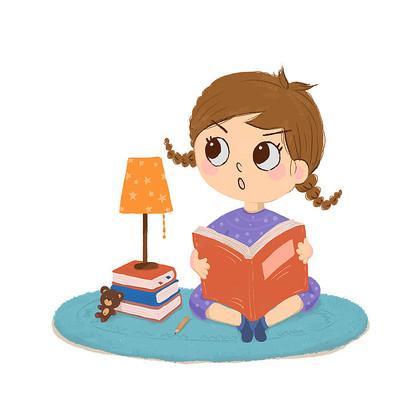 原创卡通看书的小孩'