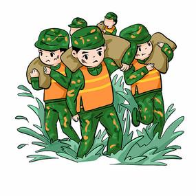 抗洪救灾的军人