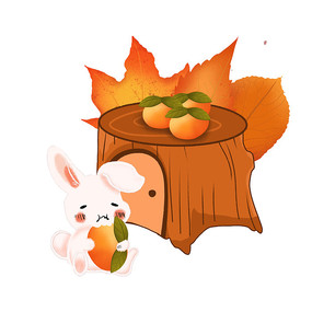 秋天动物小白兔