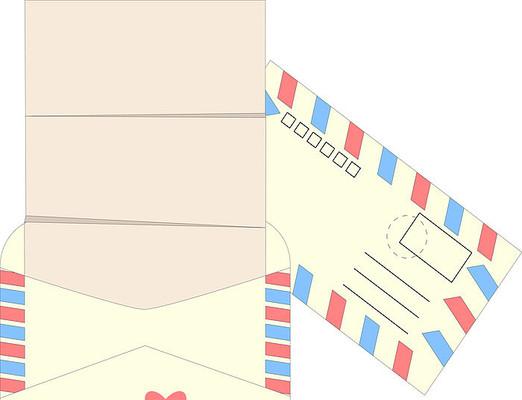 手绘卡通原创传统信封信纸ai矢量