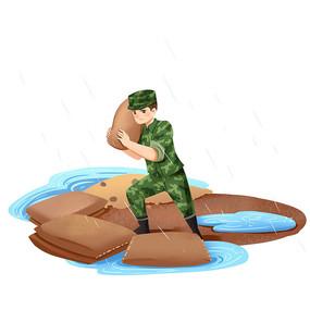台风暴雨防洪防汛消防战士抢险素材