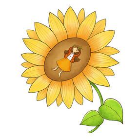 向日葵和少女创意组合