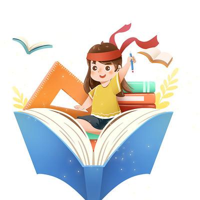 开学季学生学习人物与文具素材