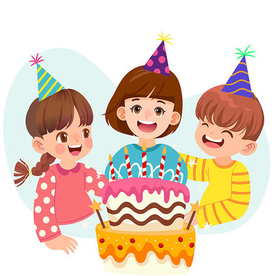 卡通人物聚会庆祝生日蛋糕素材