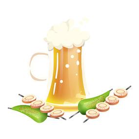 卡通矢量扁平啤酒豆串烤辣椒元素