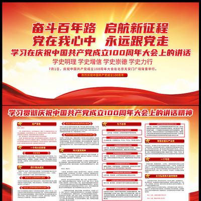 庆祝中国共产党成立一百周年大会讲话精神展板