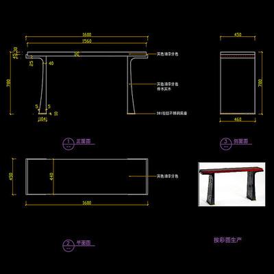 全实木玄关桌玄关台CAD桌子图纸