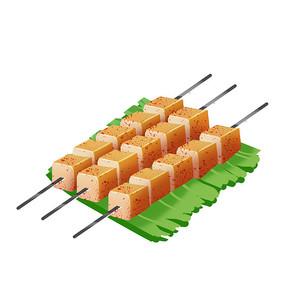 烧烤摊美味香喷喷鱼豆腐元素