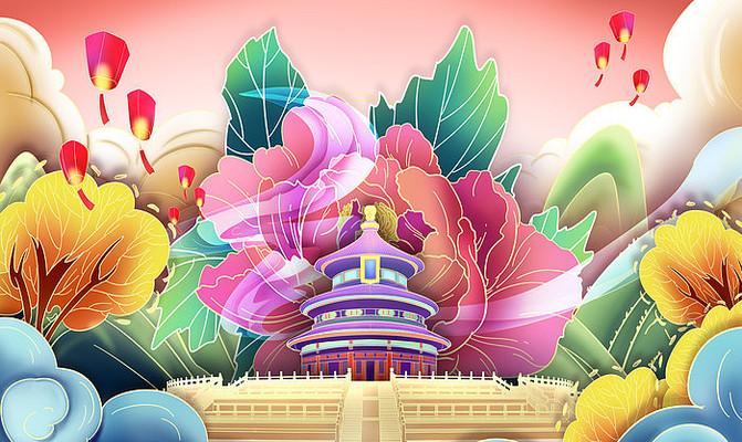 国庆中秋天坛北京节日庆典国潮风