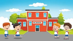开学季儿童上学习
