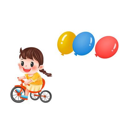 卡通手绘儿童手拿气球设计元素