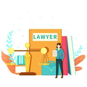 律师法律扁平场景人物素材