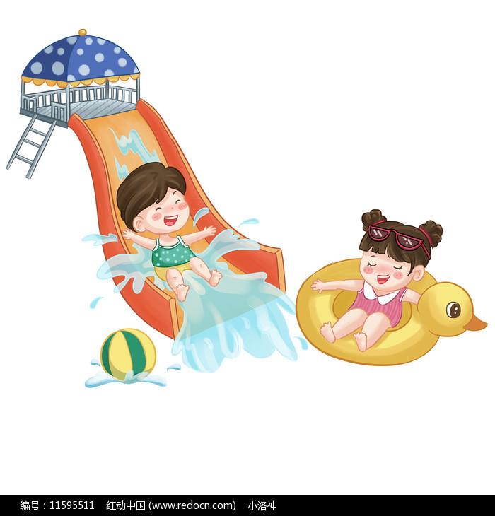 水上乐园儿童夏天游泳图片