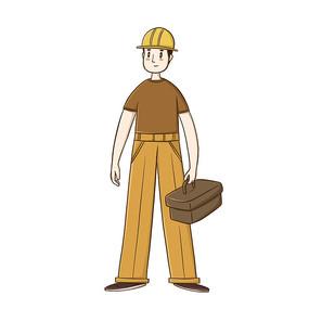 卡通装修工人