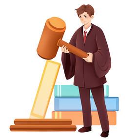 律师卡通人物形象正义素材