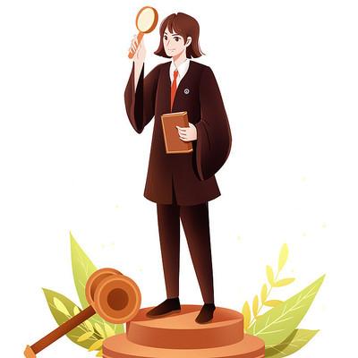 手绘卡通律师人物形象素材