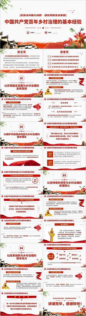 中国共产党百年乡村治理经验党史党课PPT