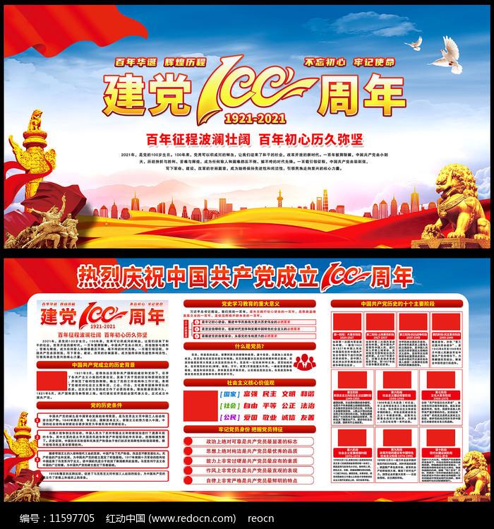 中国共产党成立100周年展板图片