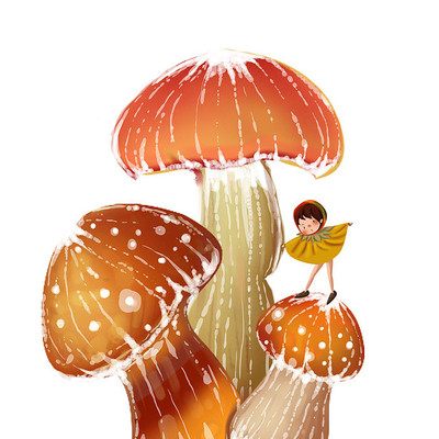 冬天手绘大蘑菇卡通形象小女孩