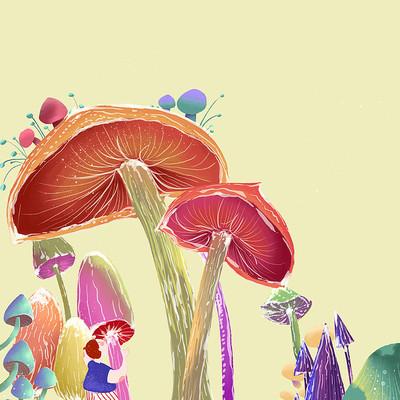可爱卡通人物夏天蘑菇森林