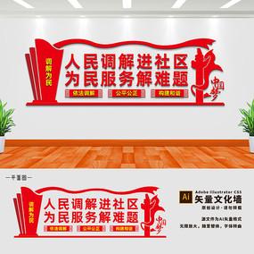 人民调解进社区文化墙设计
