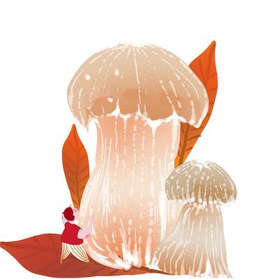 手绘大蘑菇插画和树叶卡通人物形象