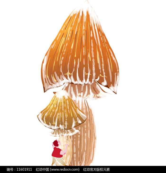 手绘大蘑菇清新和卡通形象人物图片