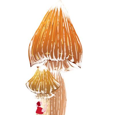 手绘大蘑菇清新和卡通形象人物