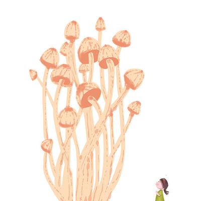 一群手绘金针菇卡通形象小女孩