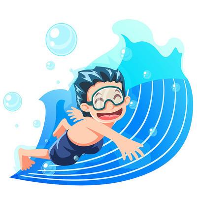 游泳馆里游泳的男孩插画元素