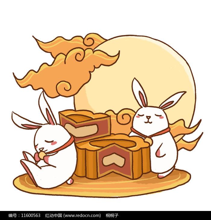 中秋节卡通月饼玉兔图片