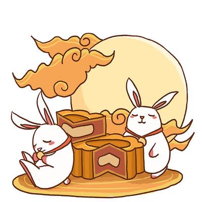 中秋节卡通月饼玉兔