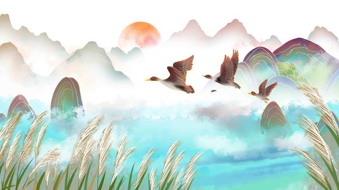 节气山水白鹭大雁往南飞