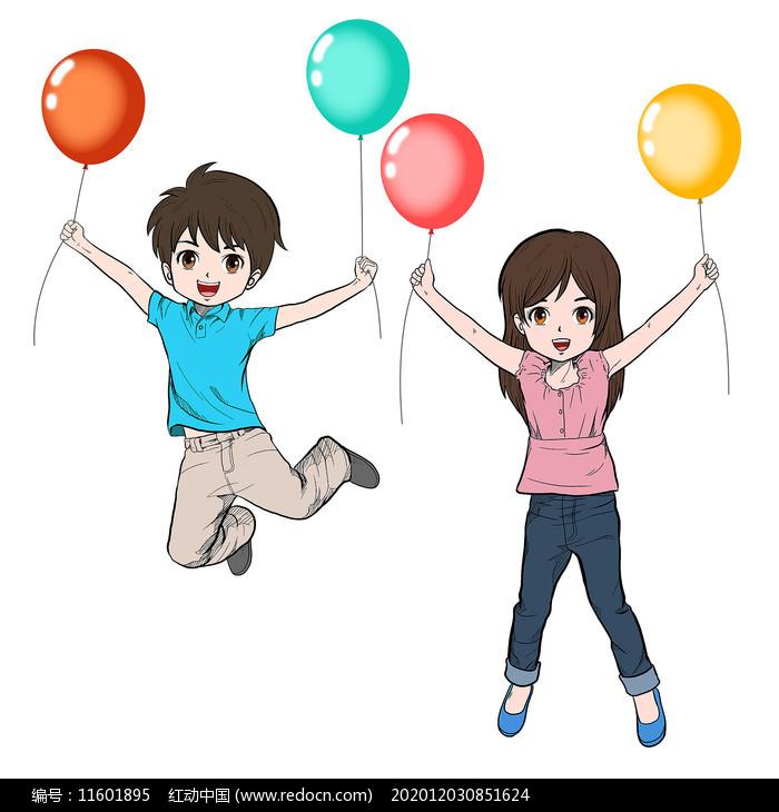 卡通风拉气球的学生图片