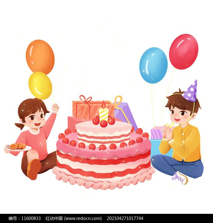 生日人物两个小孩子吃生日蛋糕PNG素材图片