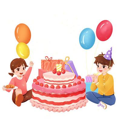 生日人物两个小孩子吃生日蛋糕PNG素材