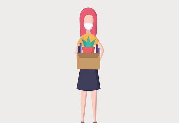 戴口罩搬东西的职业女性ai